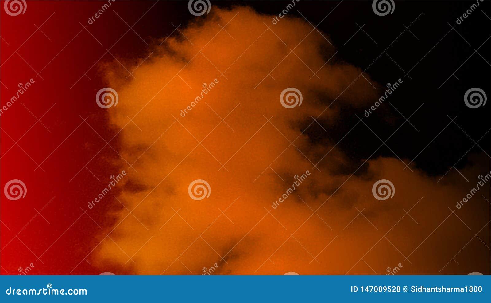 Bakgrund för dimma för abstrakta svarta orange för färgblandning mång- effekter för färger rökig