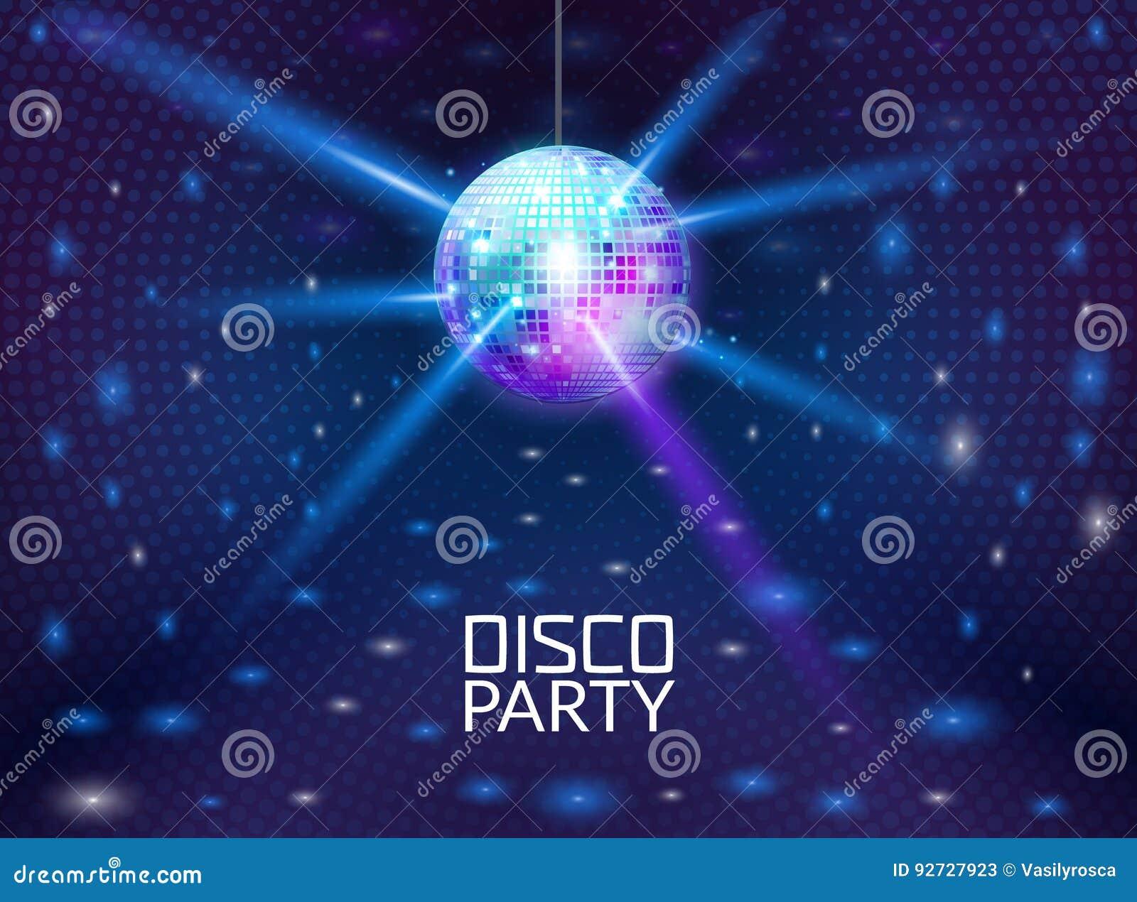 Bakgrund för diskoparti Designen för musikdansvektorn för annonserar Promo för design för för diskobollreklamblad eller affisch