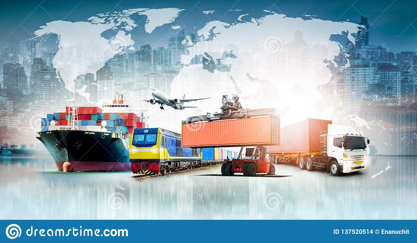 Bakgrund för export för import för logistik för global affär