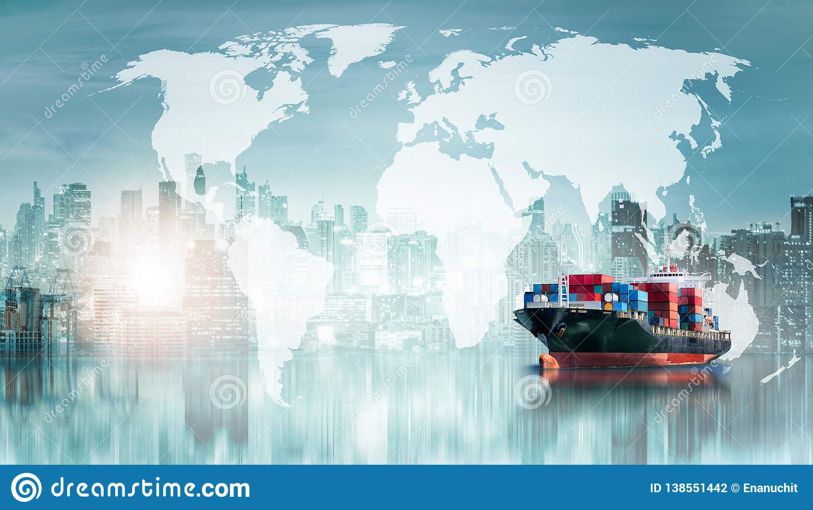 Bakgrund för export för import för logistik för global affär och skepp för behållarelastfrakter
