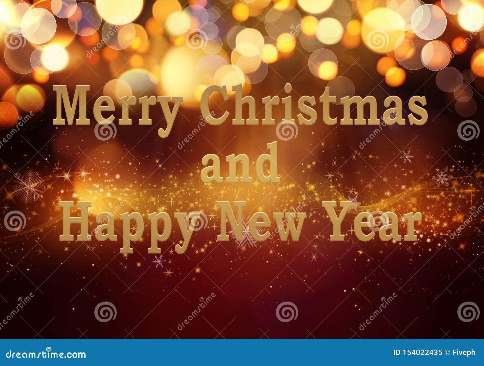 Bakgrund för guld- röd jul eller för det nya året med blänker, snöflingor, stjärnor, guld- ljus för bokeh på den festliga lutning