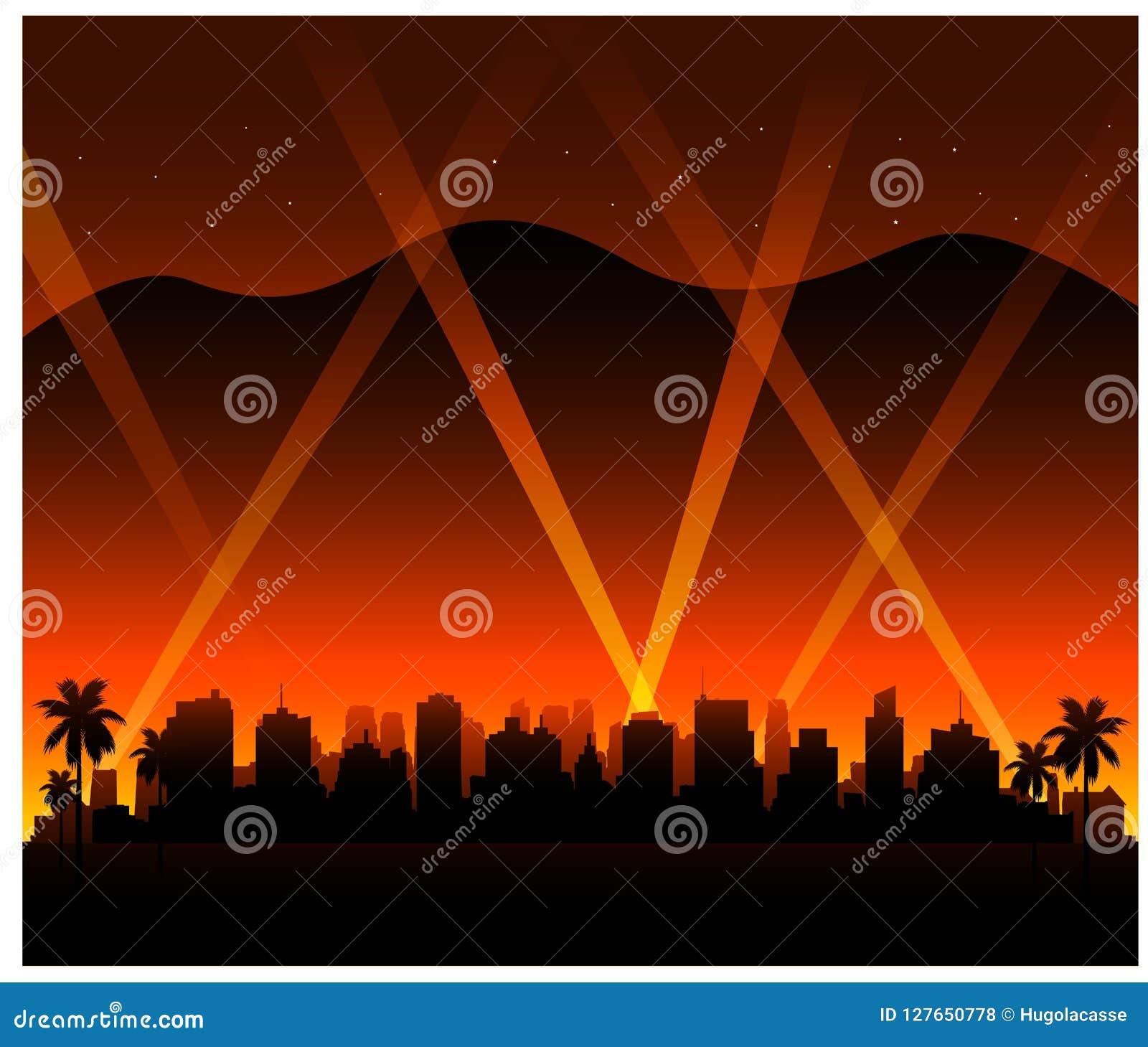 Bakgrund för Hollywood Kalifornien solnedgångstad