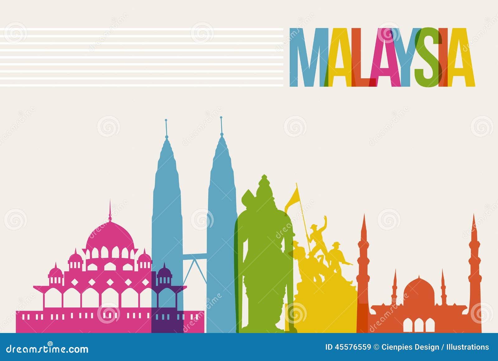 Bakgrund för horisont för gränsmärken för loppMalaysia destination
