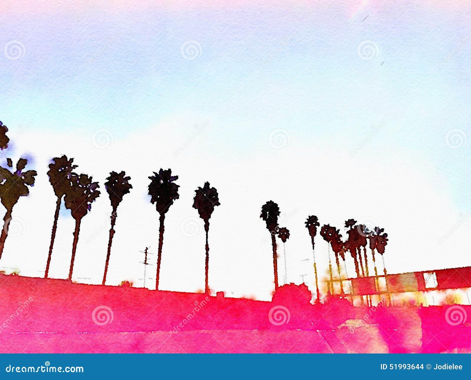 Bakgrund för Kalifornien palmträdLos Angeles rosa grafisk vattenfärg