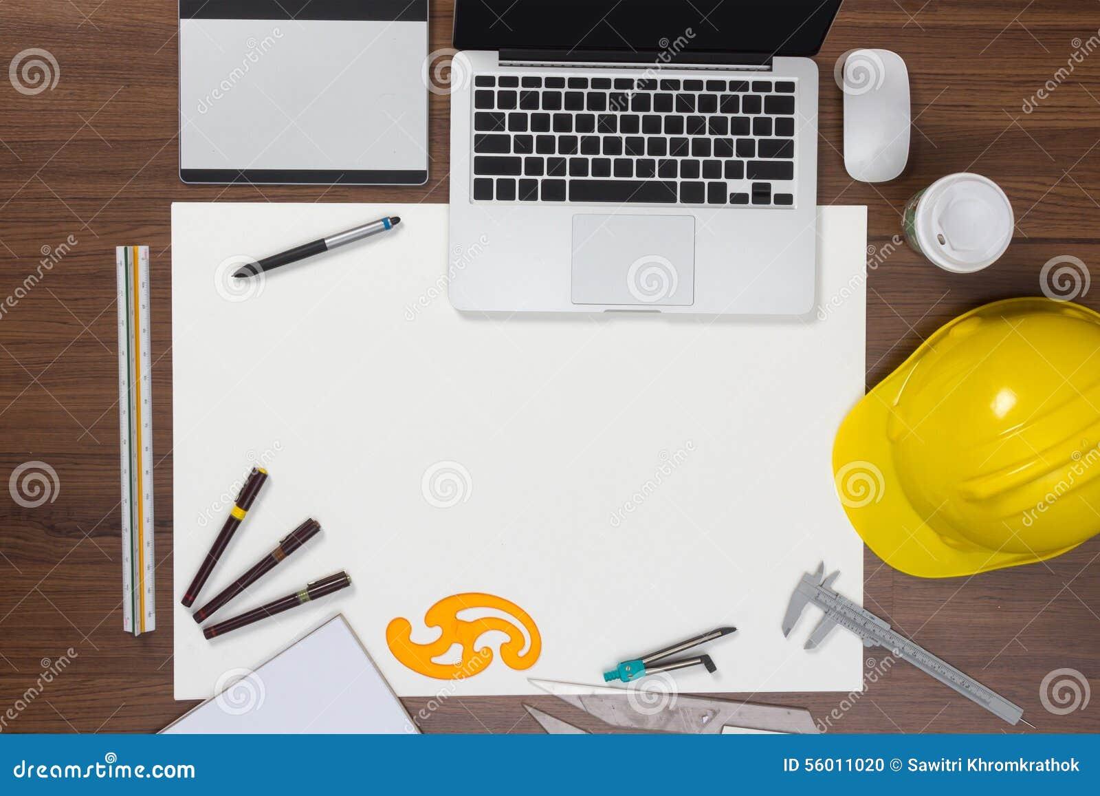 Bakgrund för kontorsskrivbord med konstruktionsprojekt