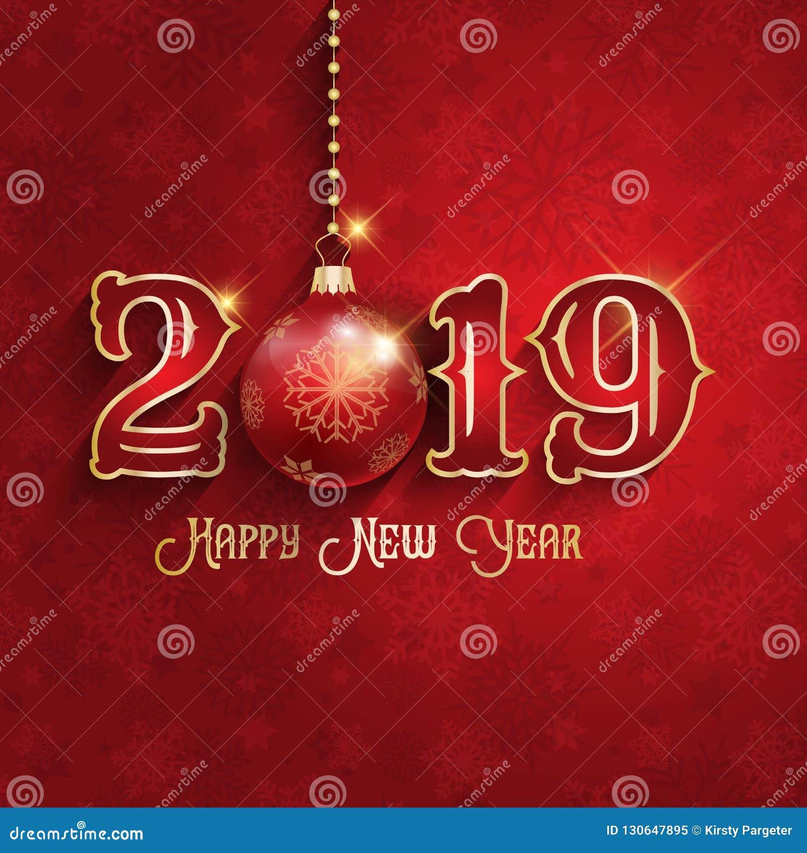 Bakgrund för lyckligt nytt år med den hängande struntsaken