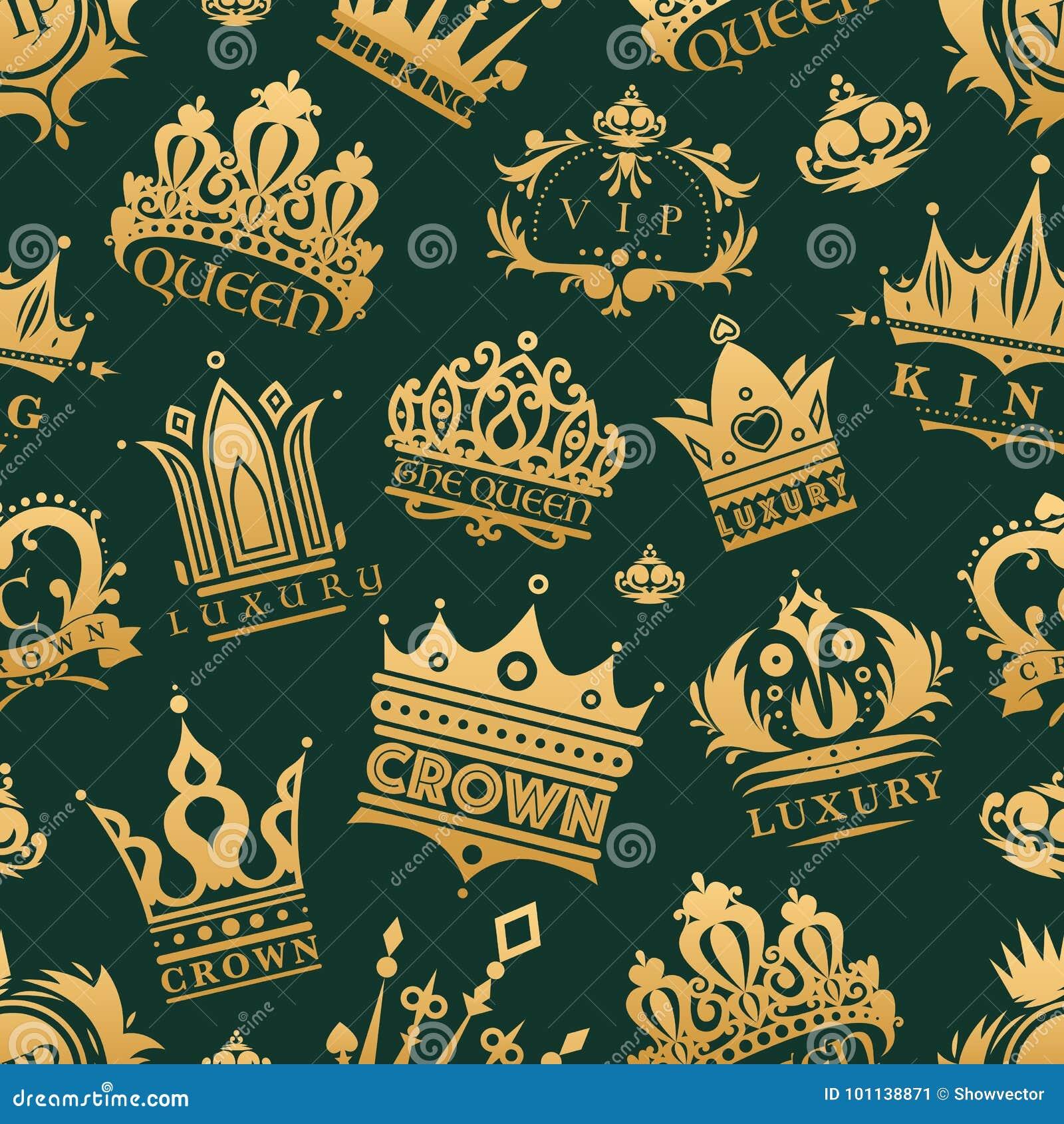 Bakgrund för modell för guld- för kronakonungsymboler fastställd för adel för samling för tappning för smycken för tecken illustr