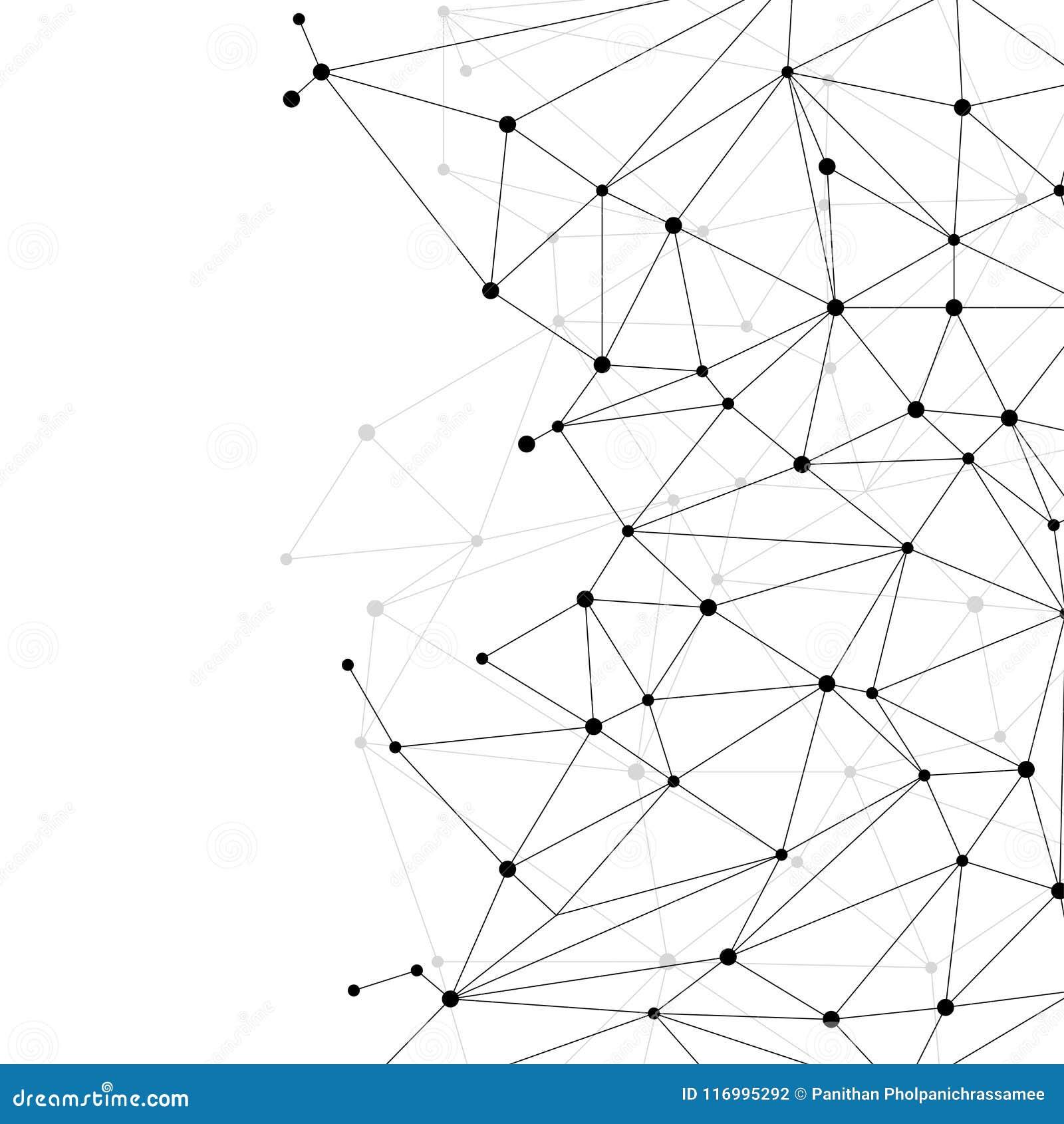 Bakgrund för nätverksförbindande prickpolygon: Begrepp av nätverket, affär som förbinder, molekyl, data, kemikalie