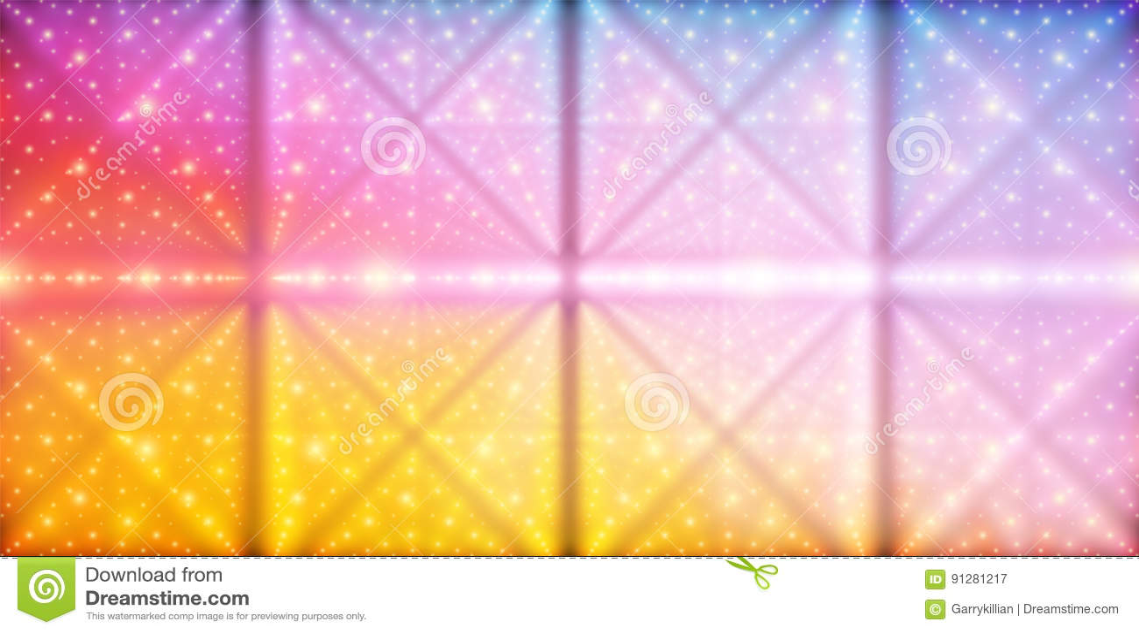 Bakgrund för oändligt utrymme för vektor Matris av glödande stjärnor med illusion av djup och perspektivet