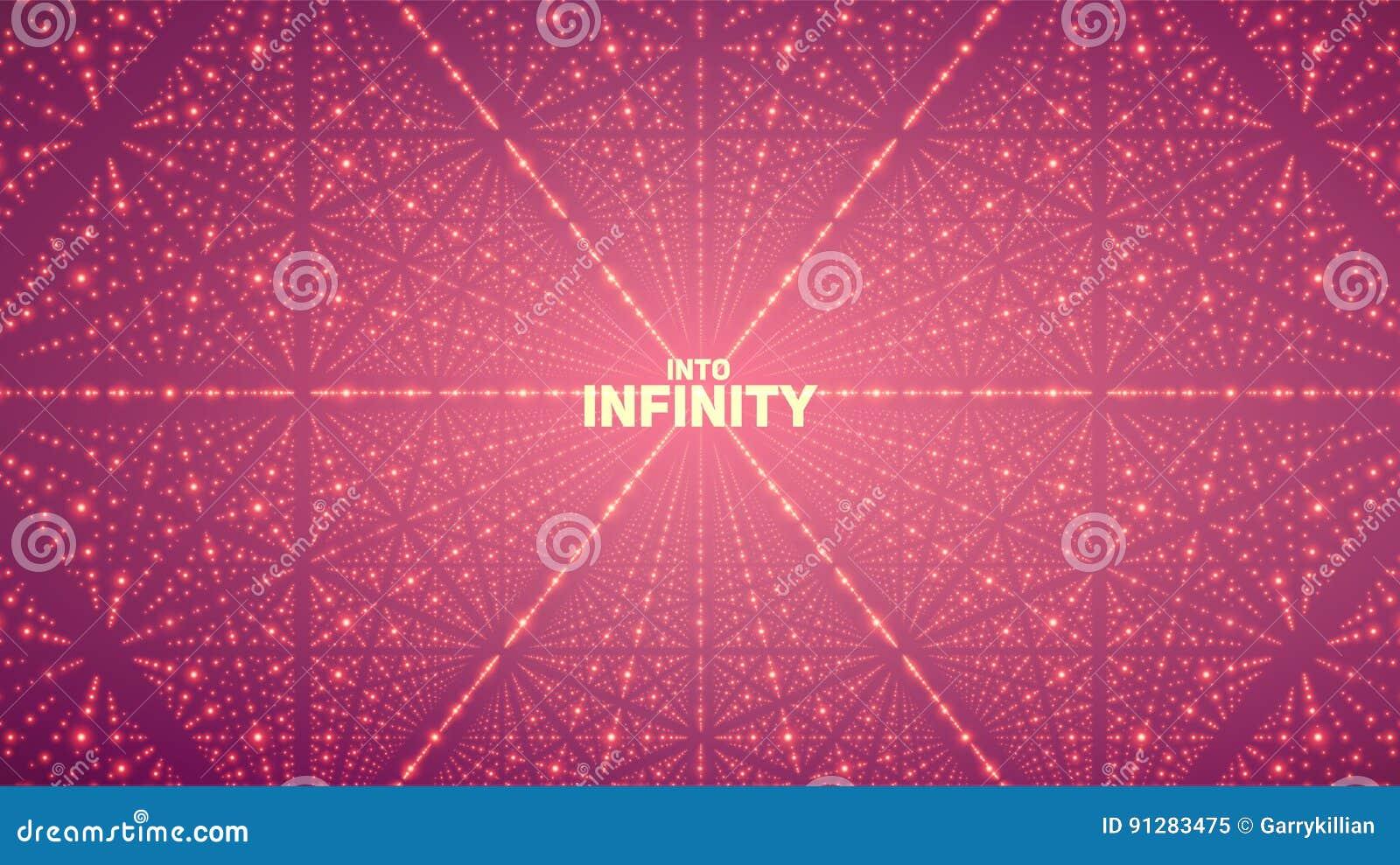 Bakgrund för oändligt utrymme för vektor Matris av glödande stjärnor med illusion av djup, perspektiv