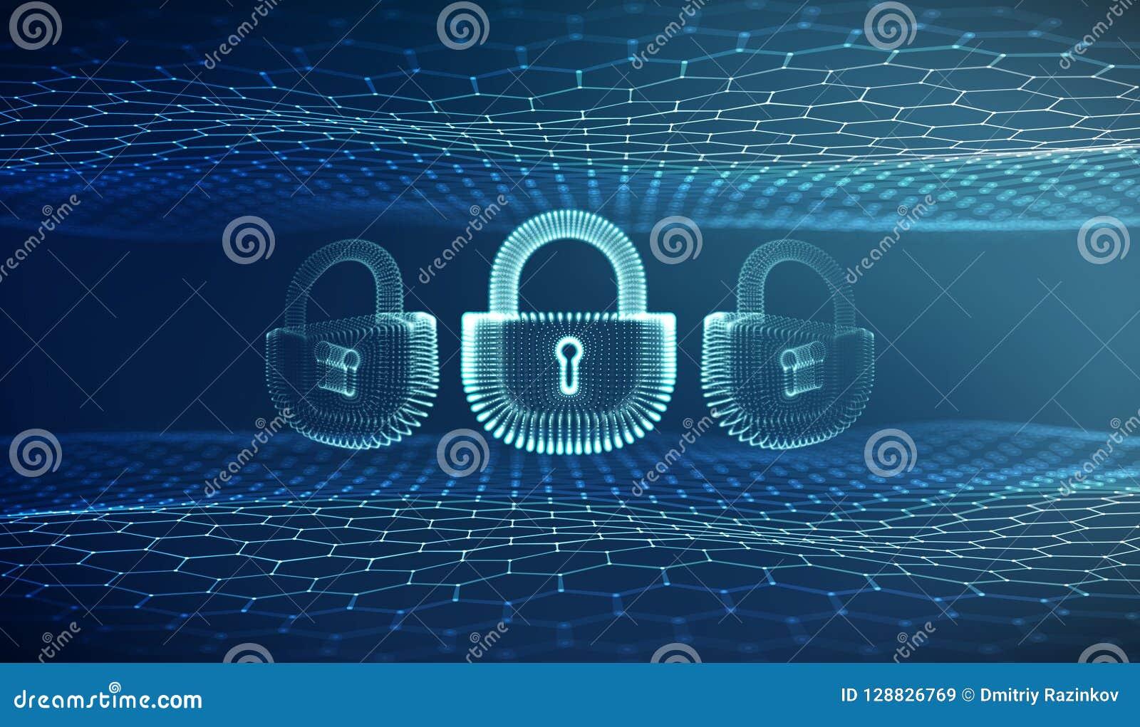 Bakgrund för säkerhet för Coputer internetcyber Brotts- vektorillustration för Cyber digitalt låsa