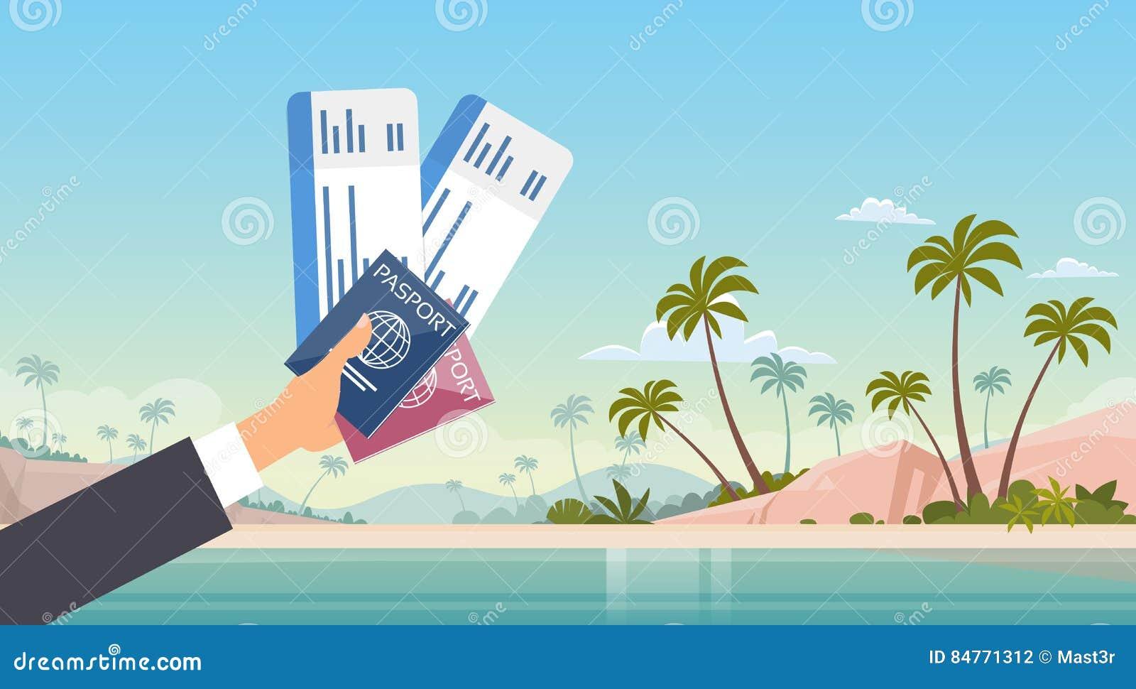 Bakgrund för strand för hav för semester för sjösida för resedokument för passerande för logi för handinnehavbiljett