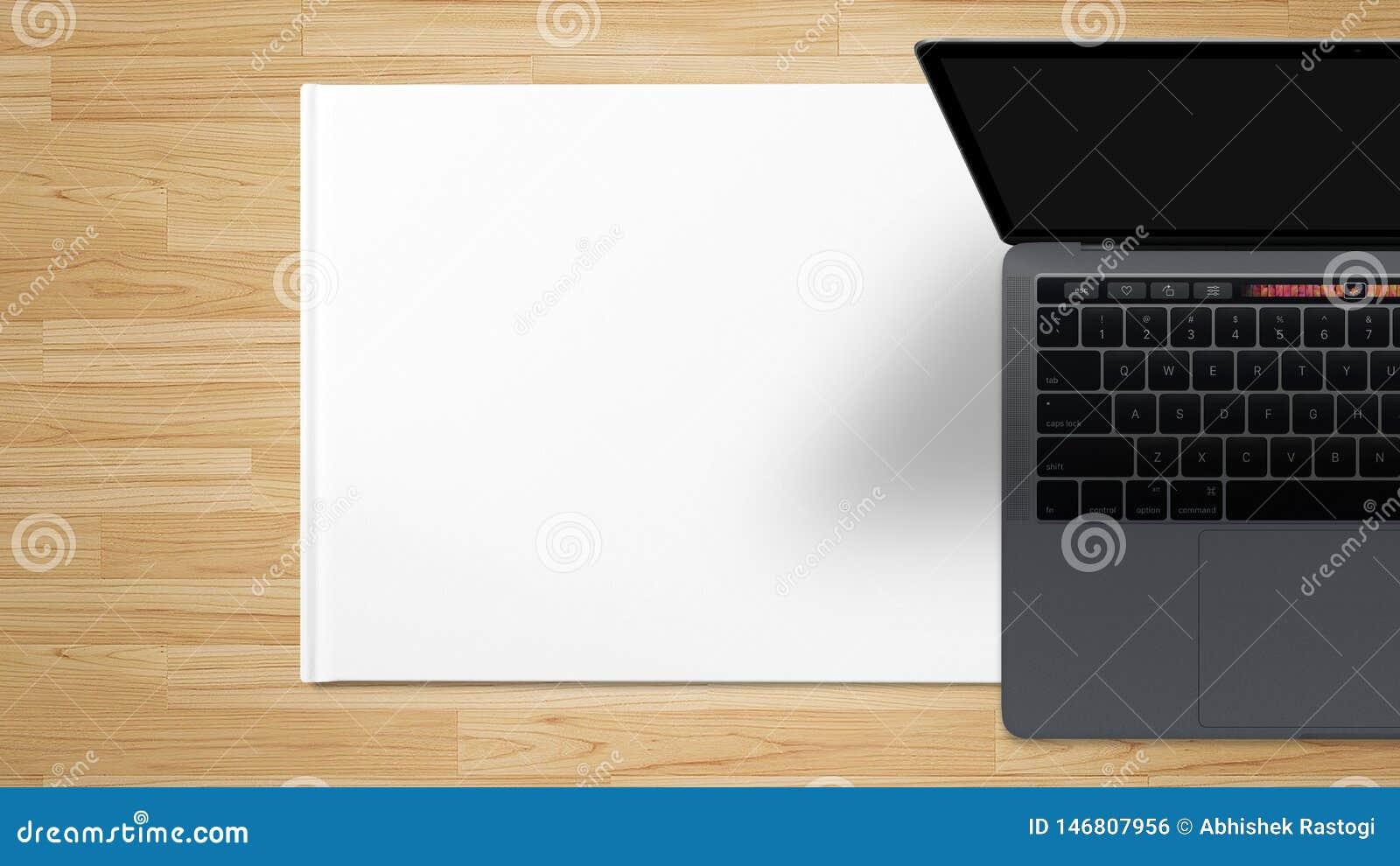 Bakgrund för tabell för arbete för tom skärm för bärbar datordator trä- materielbild