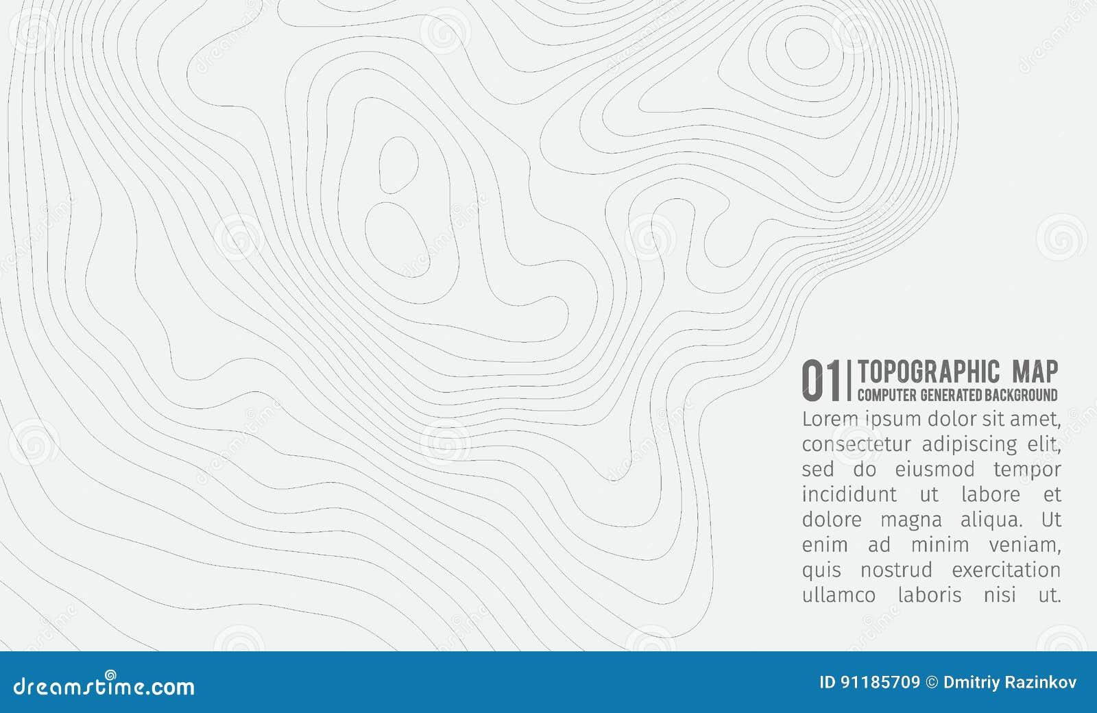 Bakgrund för Topographic översikt med utrymme för kopia Linje bakgrund för topografiöversiktskontur, geografiskt rasterabstrakt b
