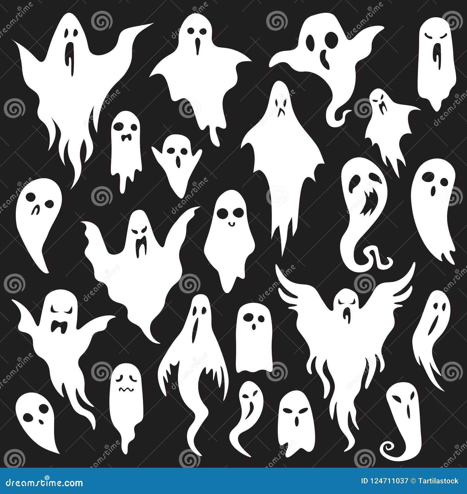 Bakgrund firar spökehalloween ferie Spöklikt monster med den läskiga framsidan för bu Spöklik uppsättning för symbol för spökeläg