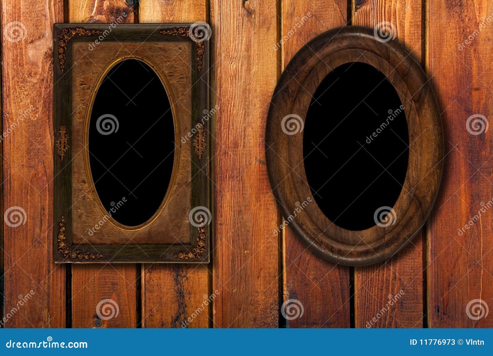 Bakgrund inramniner den träwintagen för foto två