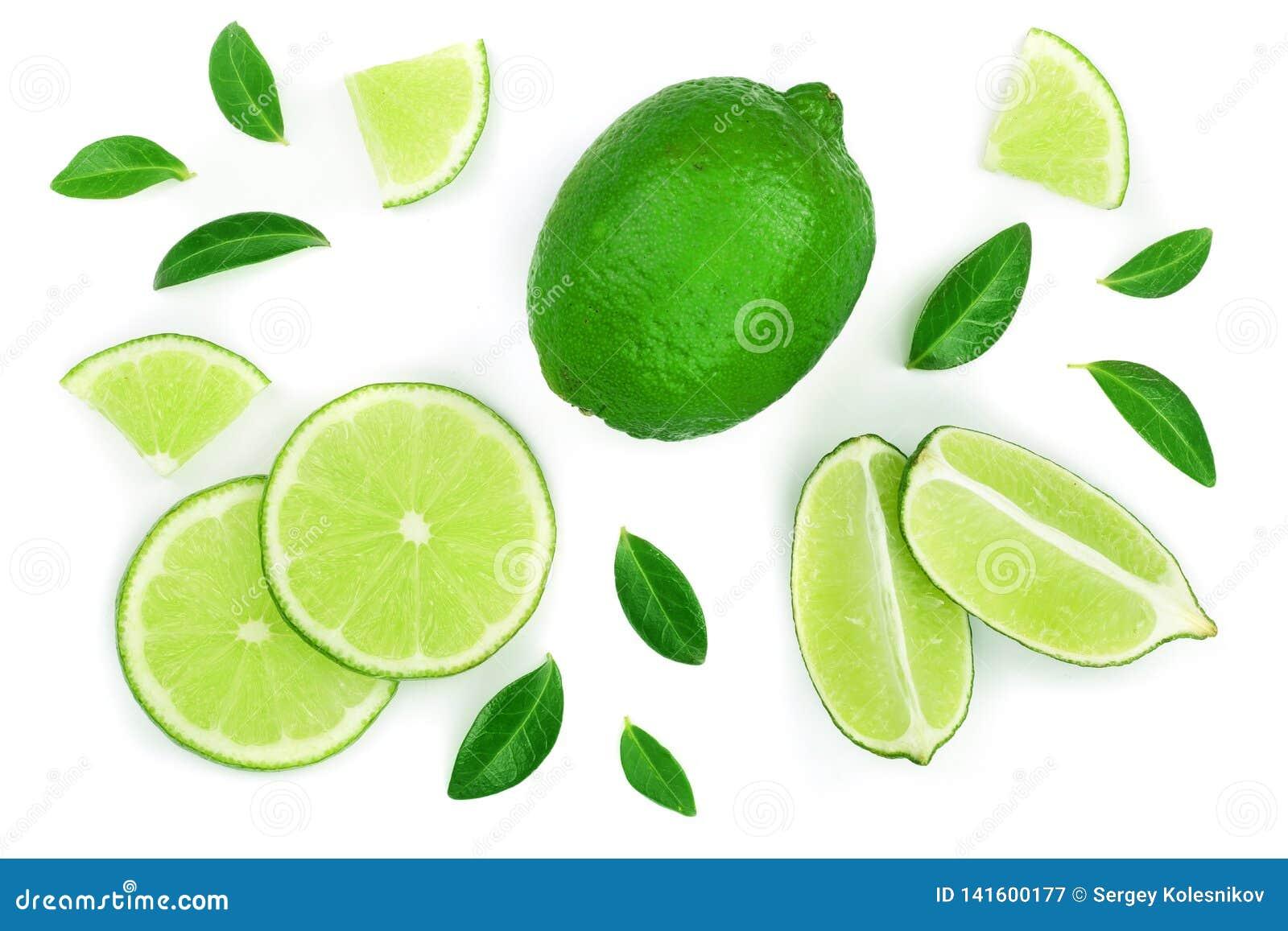 Bakgrund isolerad limefrukt skivad white Top beskådar Lekmanna- modell för lägenhet