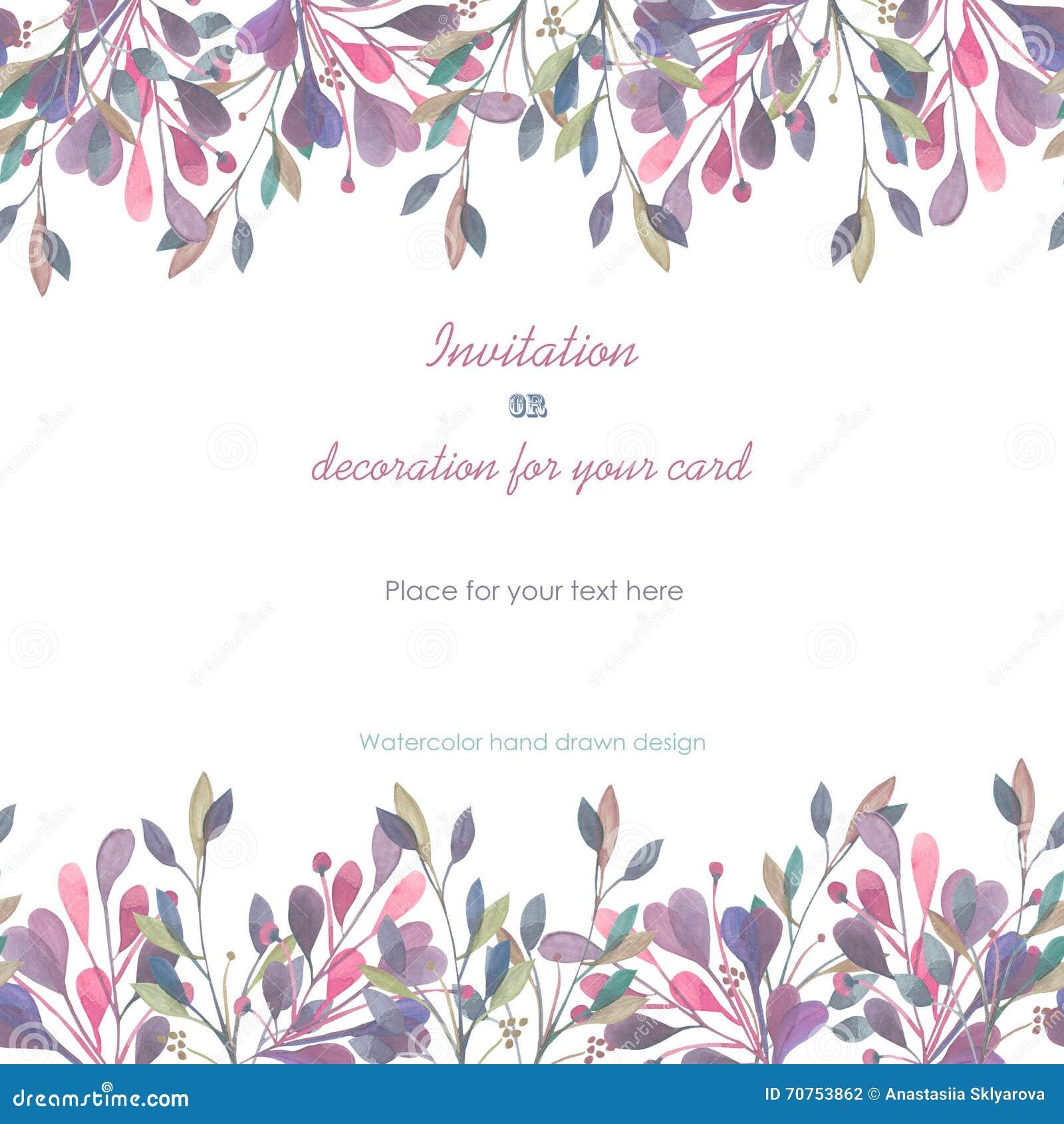 Bakgrund mallvykort med en blom- prydnad av vattenfärgrosa färg- och lilasidorna och filialer, hand som dras i en pastell