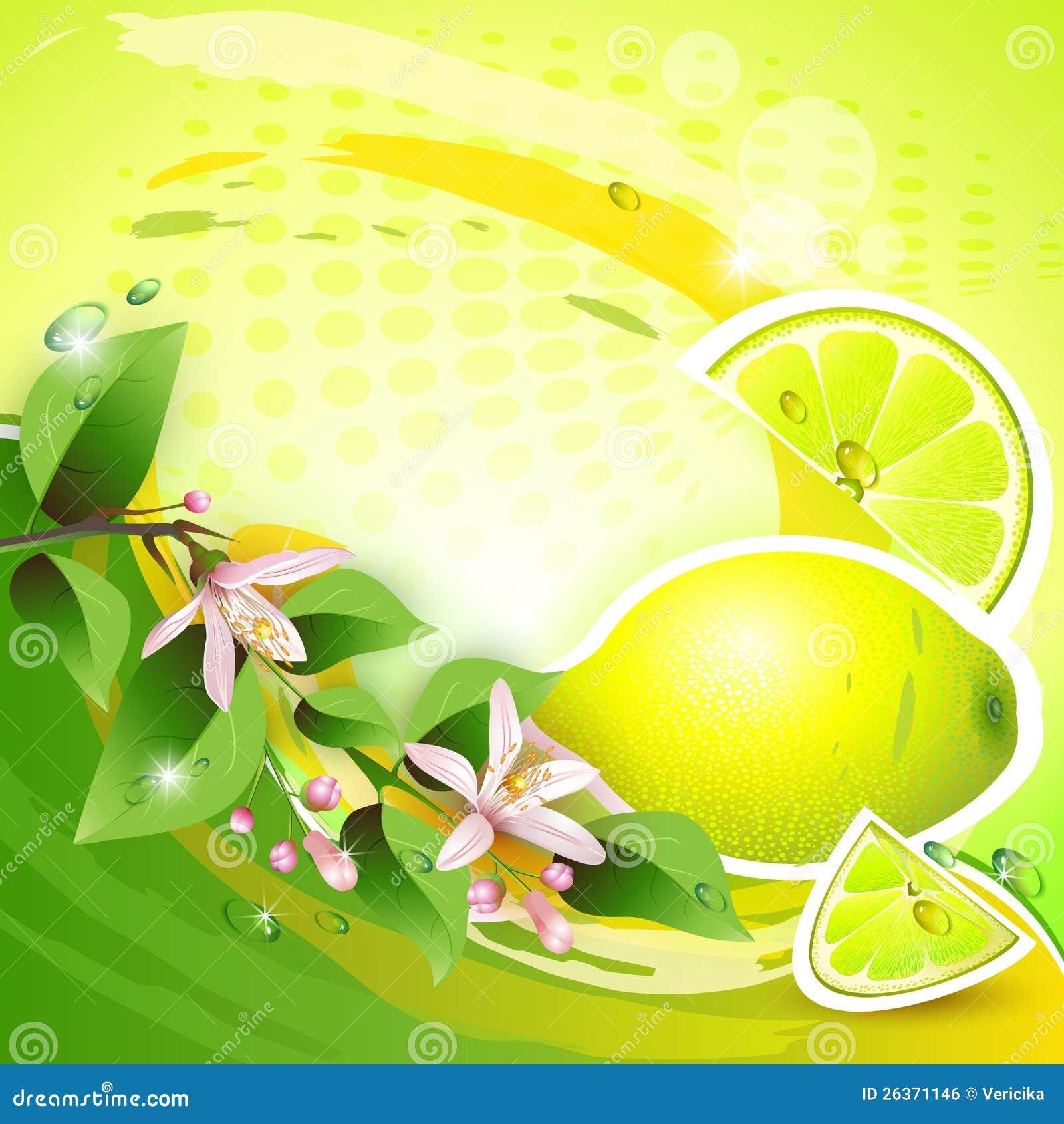 Bakgrund med den nya citronen
