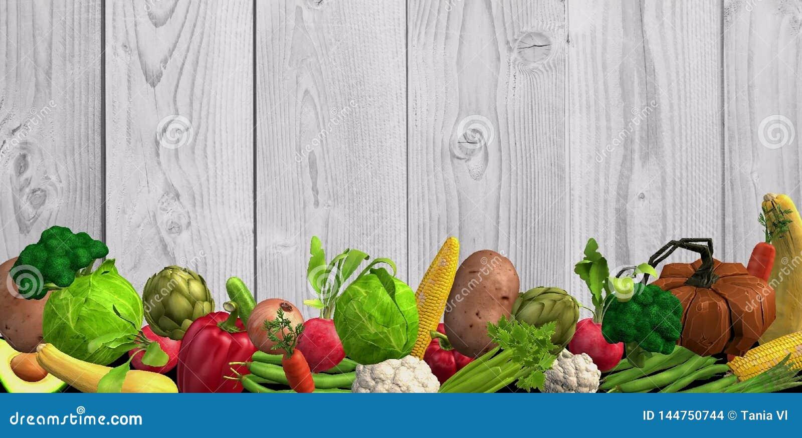 Bakgrund med många olika grönsaker i formatet 3d