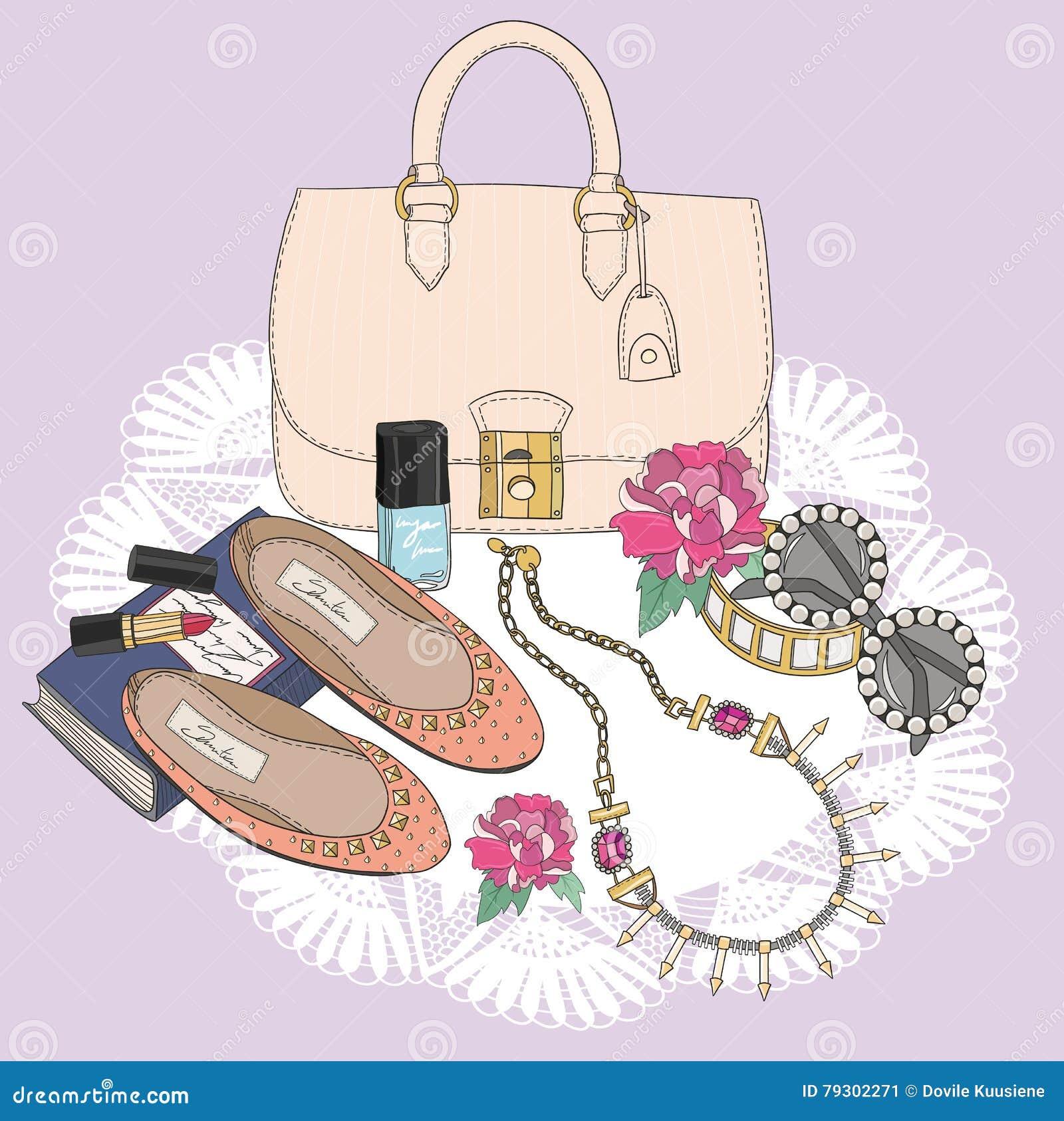 Bakgrund med makeup och blommor för doft för smycken för påsesolglasögonskor Bakgrund med påsen, solglasögon, skor