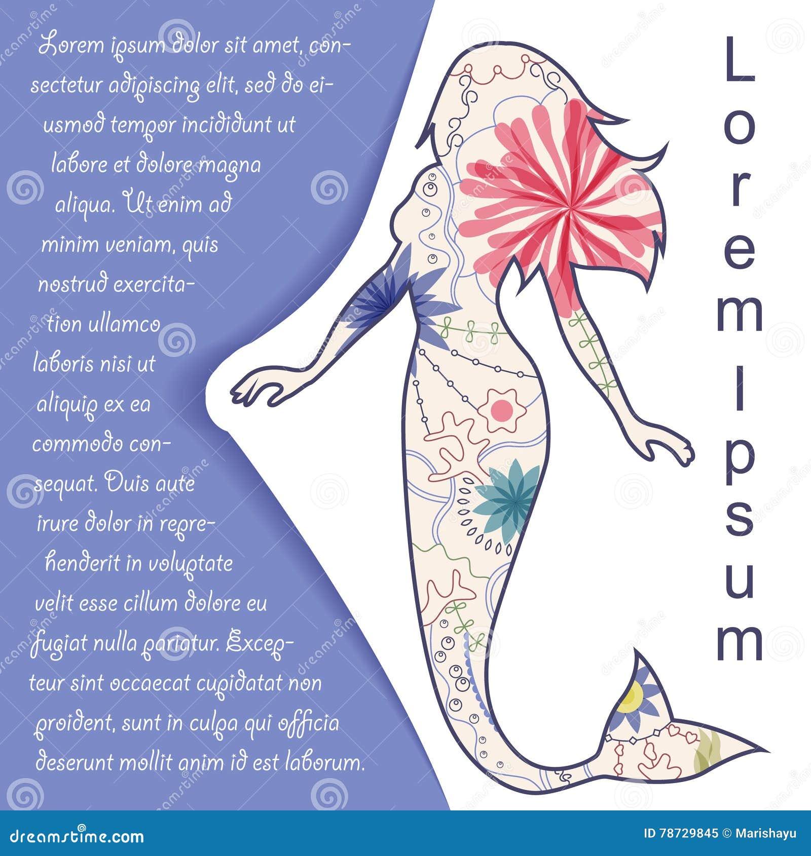 Bakgrund med sjöjungfrun på papper och ställe för text