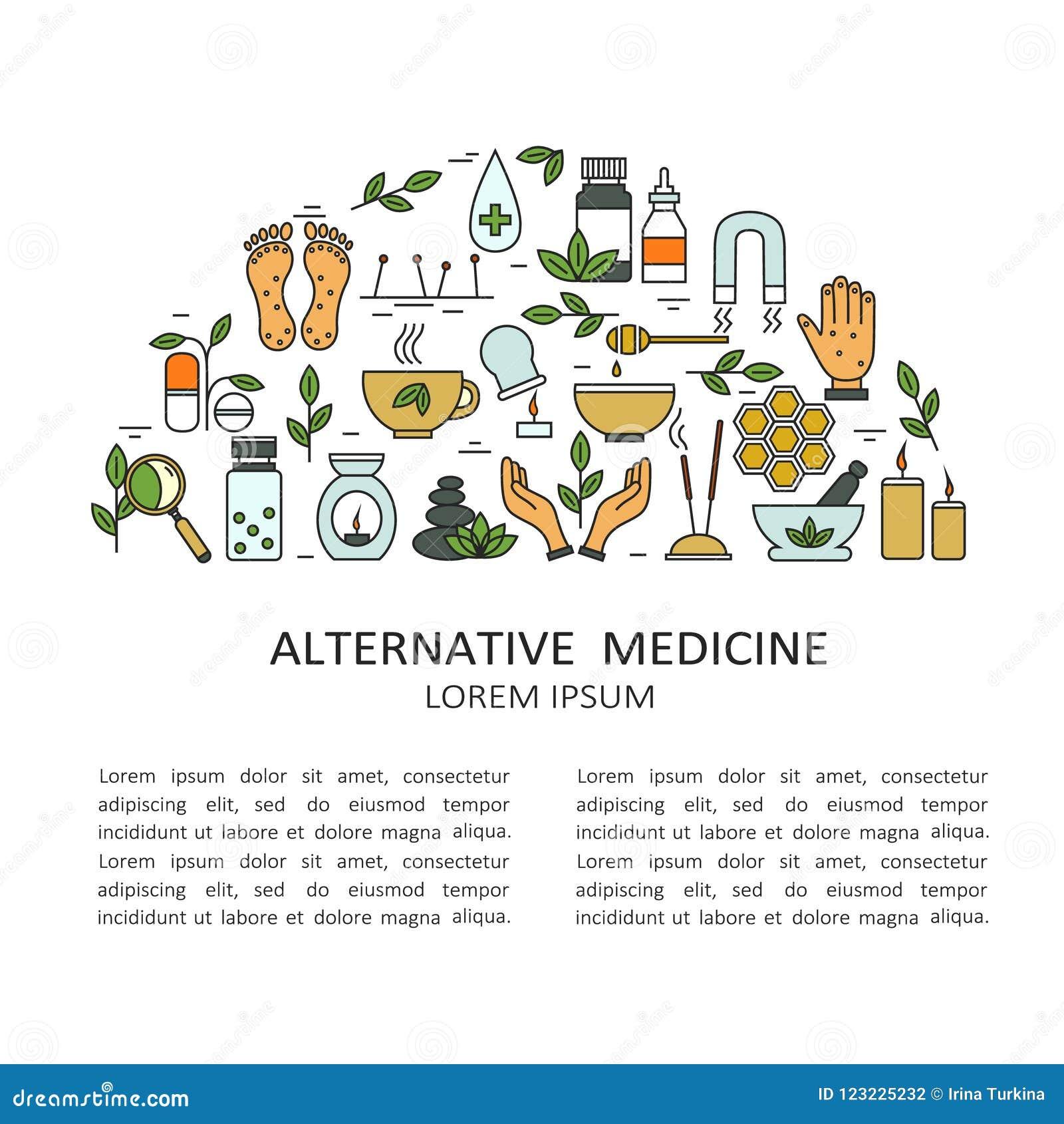 Bakgrund med symboler av alternativ medicin och text