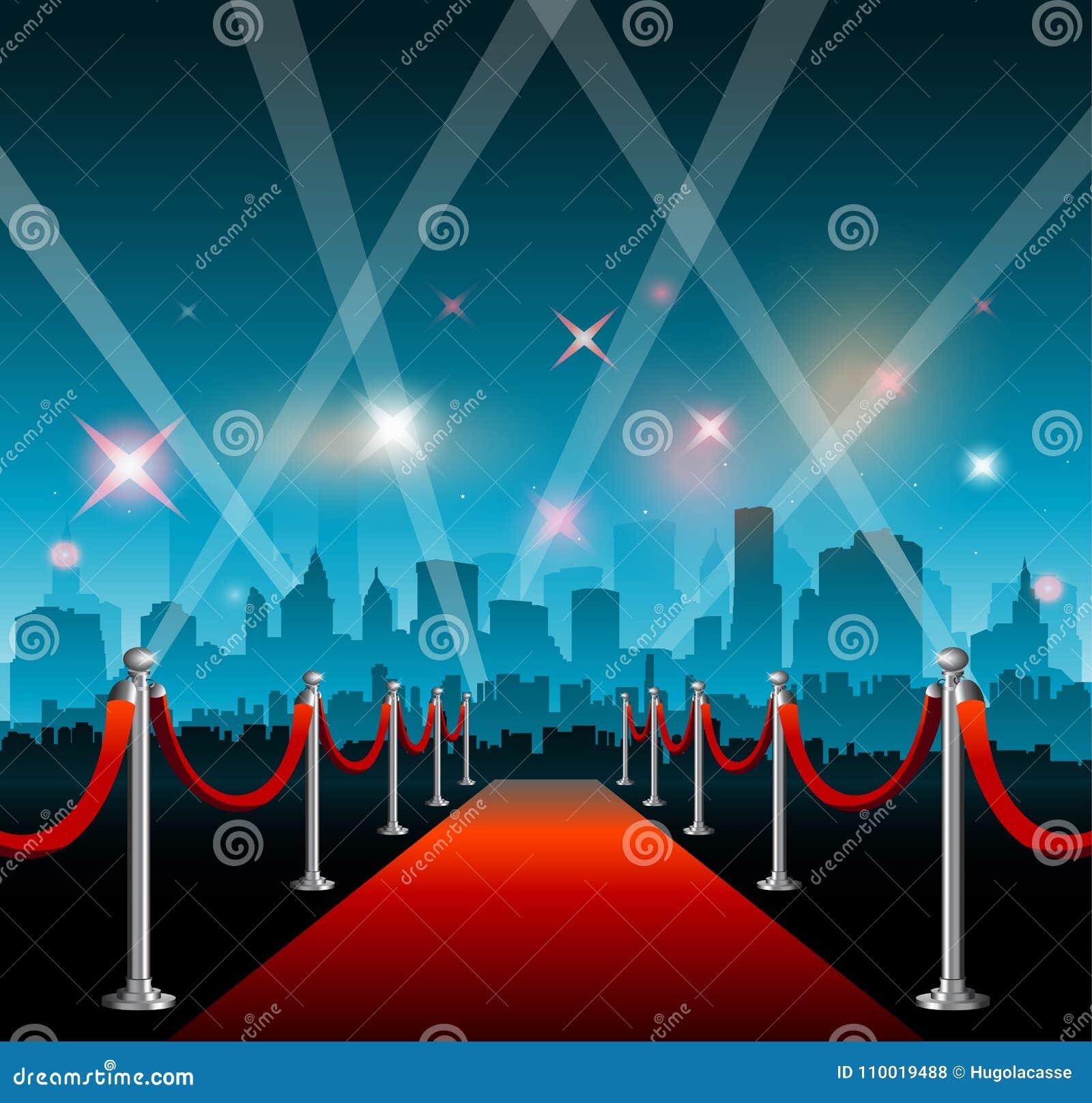 Bakgrund och stad för röd matta för Hollywood film