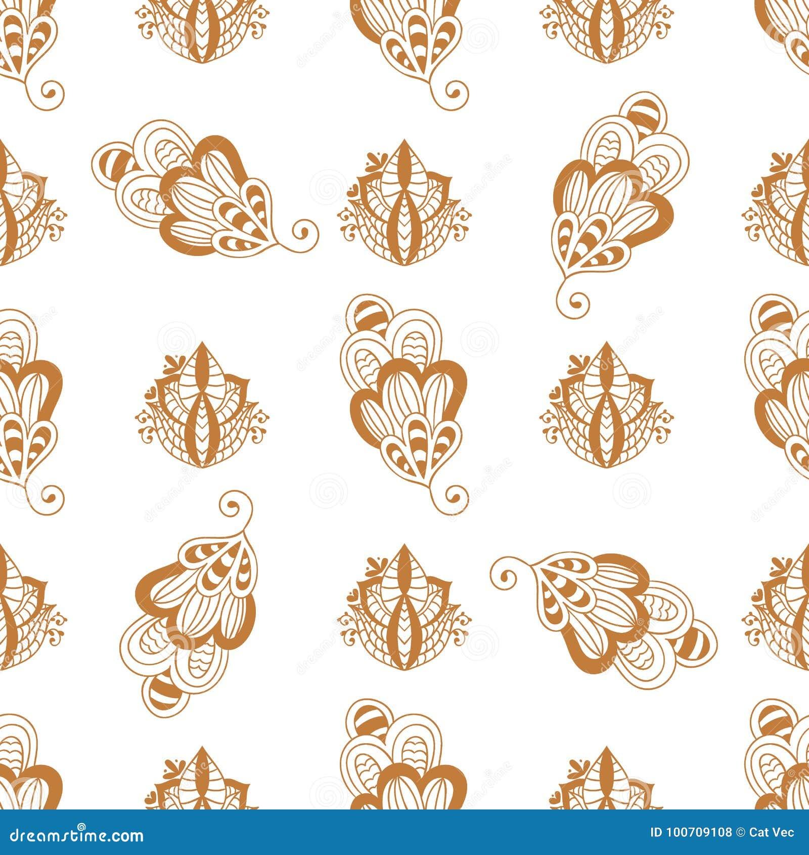 Bakgrund paisley för modell för dekorativ dekorativ indisk design för klotter för blomma för mehndi för hennatatueringbrunt sömlö