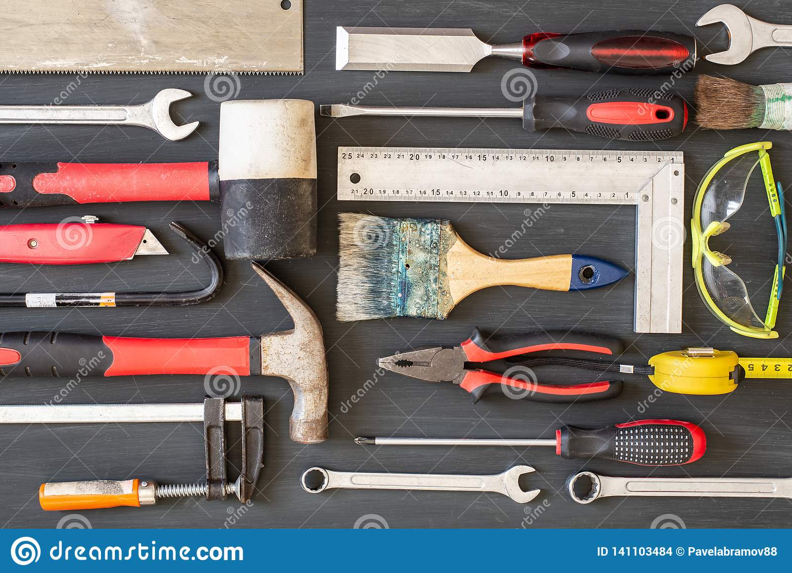 Bakgrundscarpentry tools trä Kopieringsutrymme för inskrift