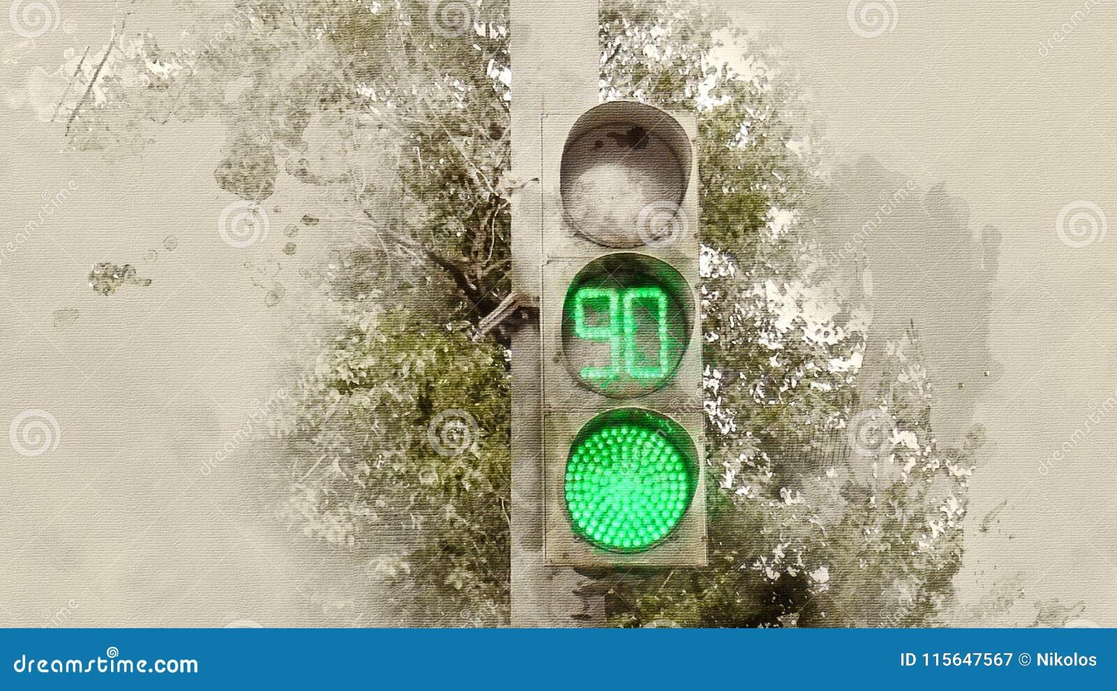 Bakgrundsillustrationen isolerade ljus white för trafikvariantsvektor grön signalering