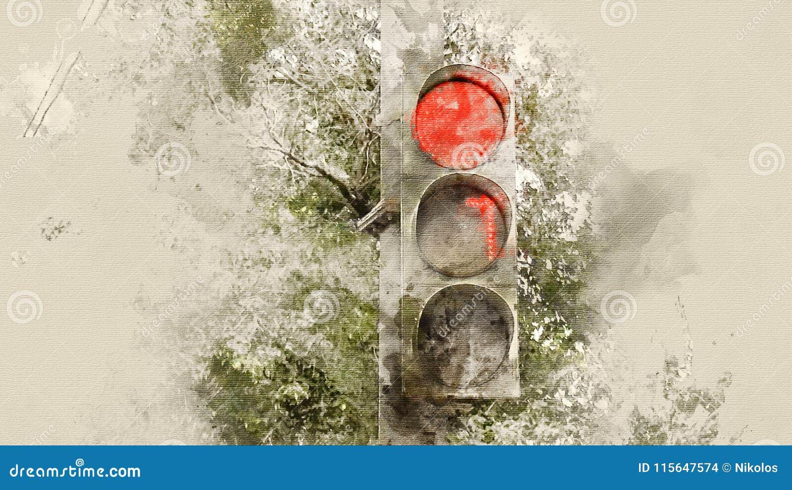 Bakgrundsillustrationen isolerade ljus white för trafikvariantsvektor röd signalering