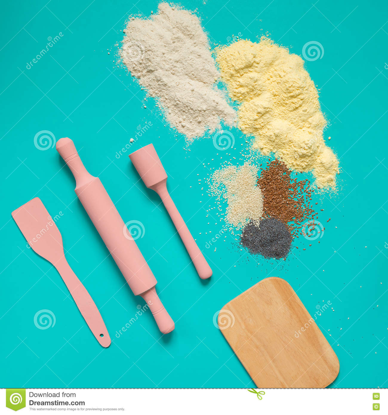 Baking Accessories Turquoise Stock Photo Image Of Accessory Interior 73624802