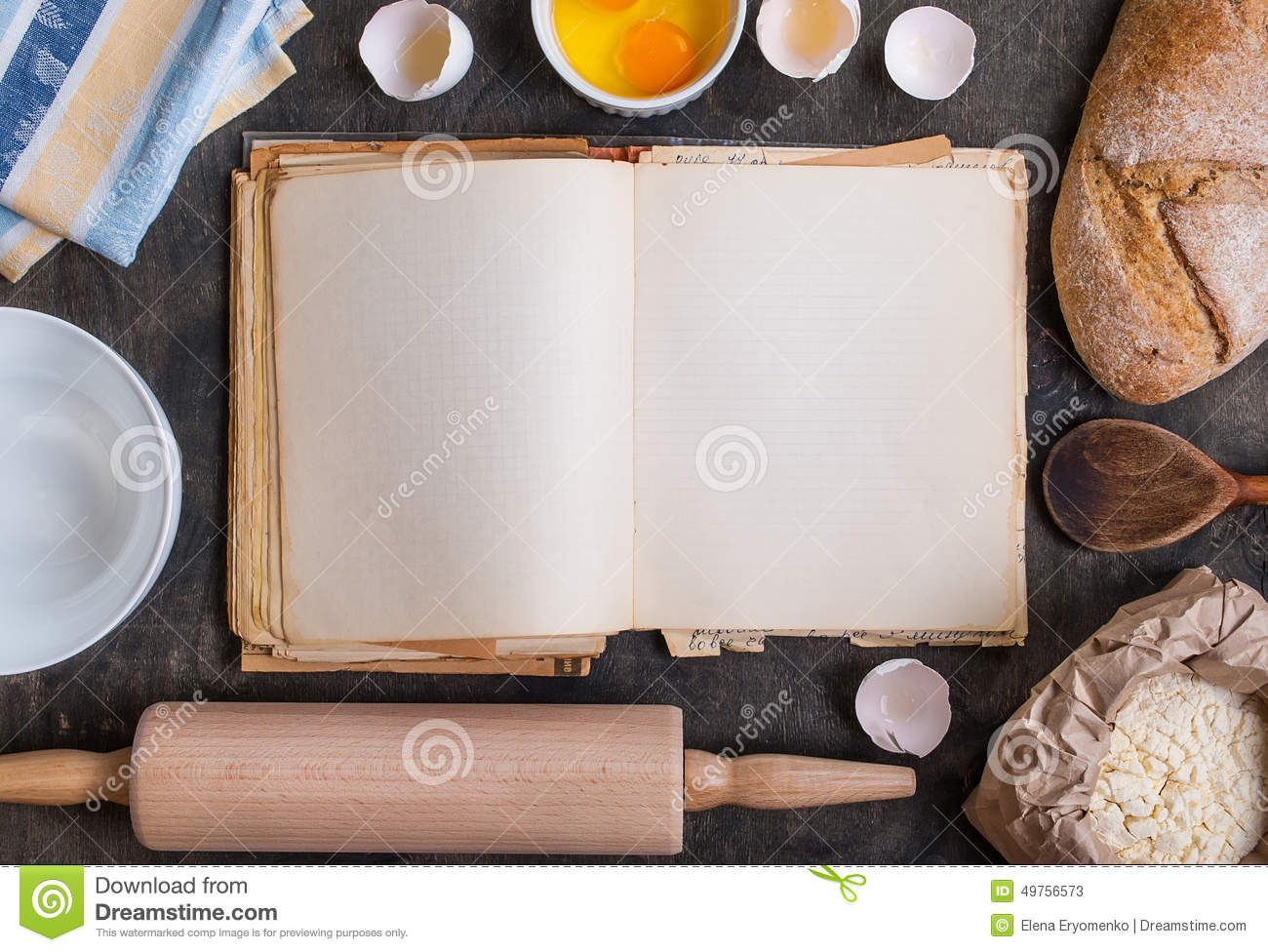 baking background with blank cook book flour rolling pin stock image image of recipe. Black Bedroom Furniture Sets. Home Design Ideas
