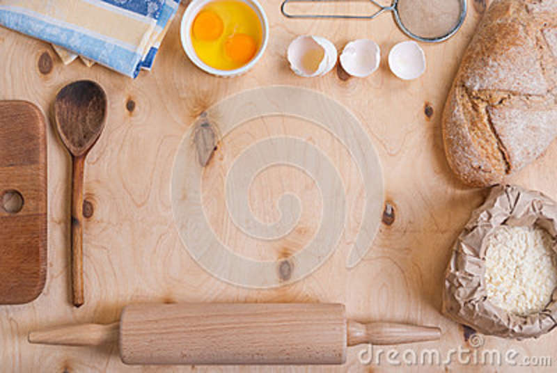 Baking Background With Cutting Board Eggshell Flour