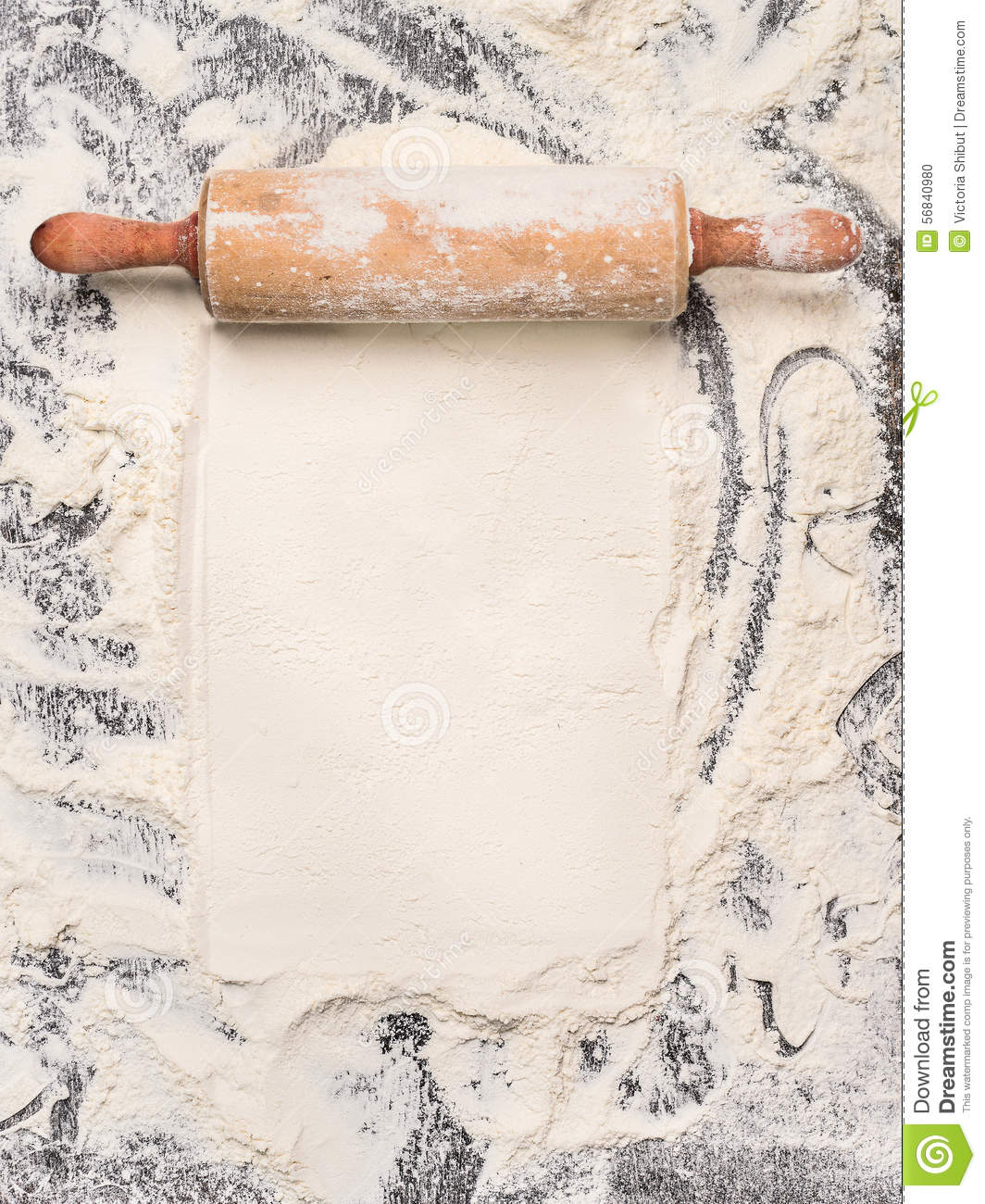 Baking Background With Flour And Rustic Rolling Pin Top