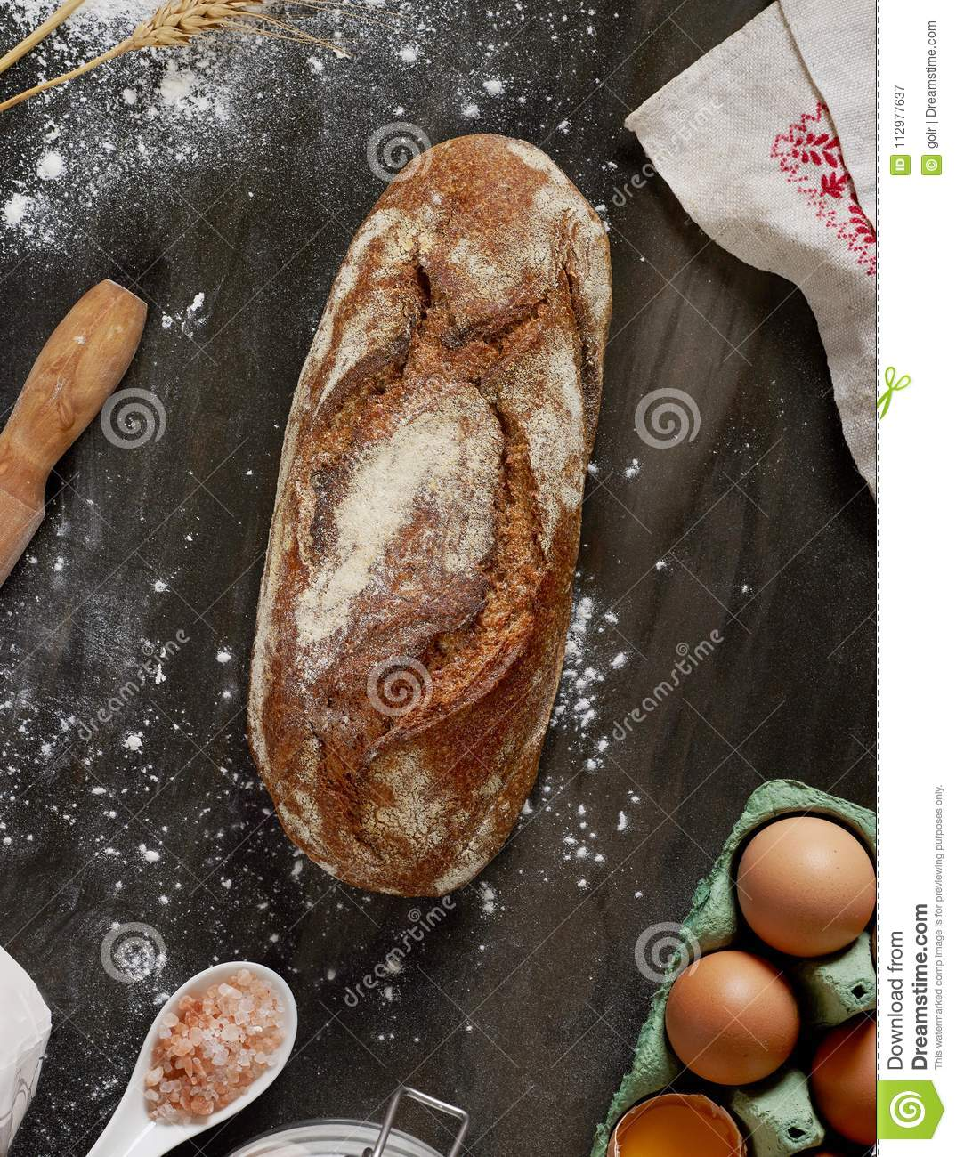 Baking bread from above
