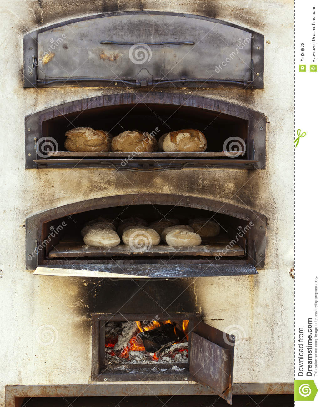 Baking Bread In Traditional Wood Oven Royalty Free Stock