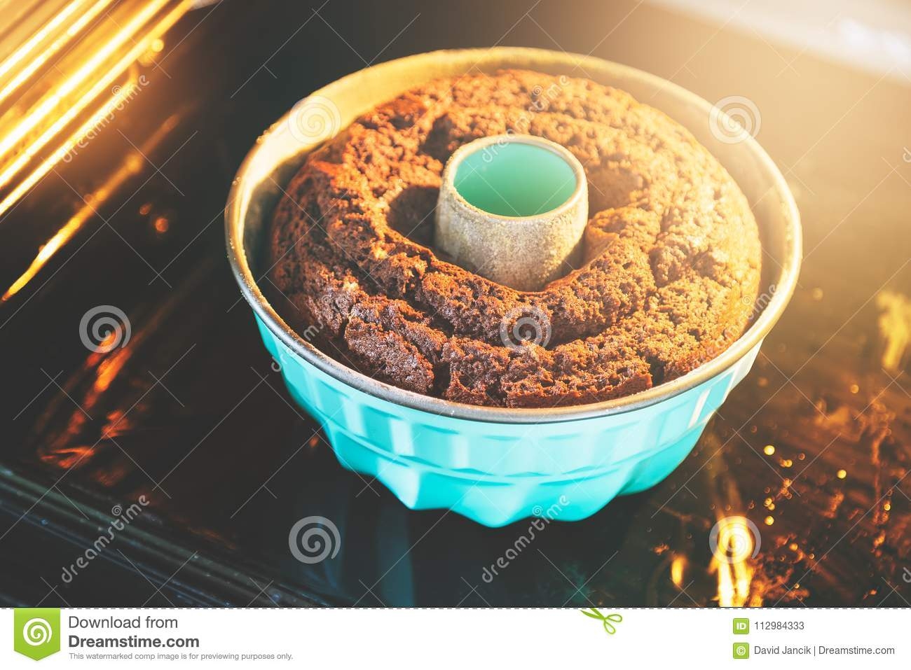 Baking the bundt cake in the oven