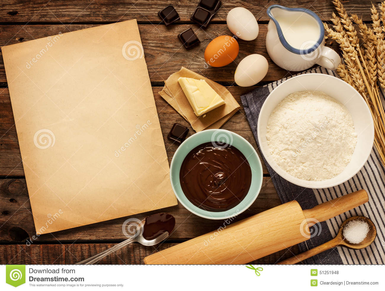 Cake Recipes With Pictures And Ingredients : Baking Chocolate Cake - Ingredients And Blank Paper ...