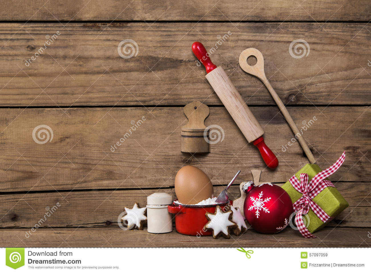 Baking in christmas time. Wooden background with kitchen utensil
