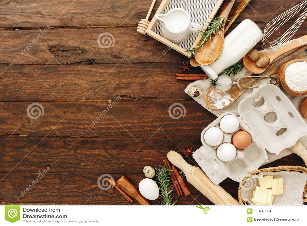 Baking or cooking background. Ingredients, kitchen items for baking cakes.