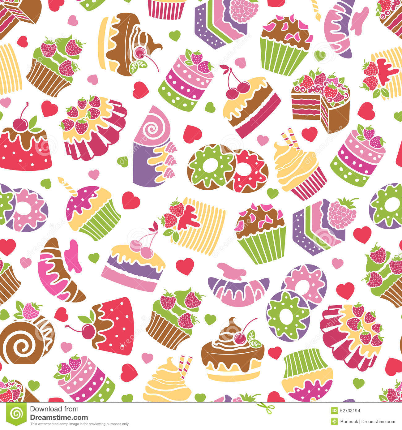 Baking And Desserts Seamless Pattern Background Stock