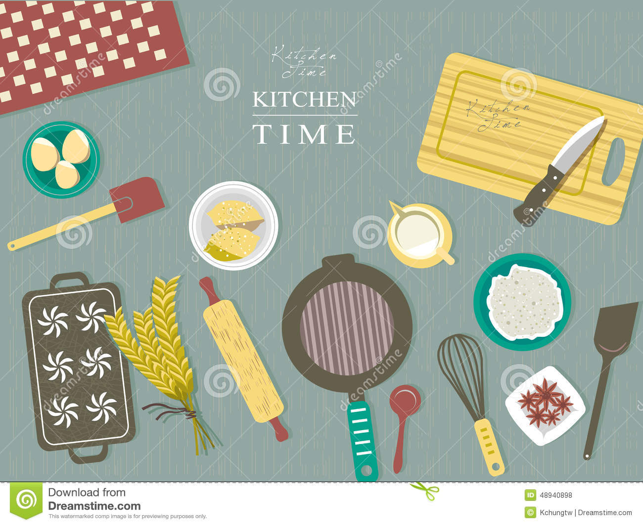 Baking ingredients on kitchen table in flat design stock for Table flat design