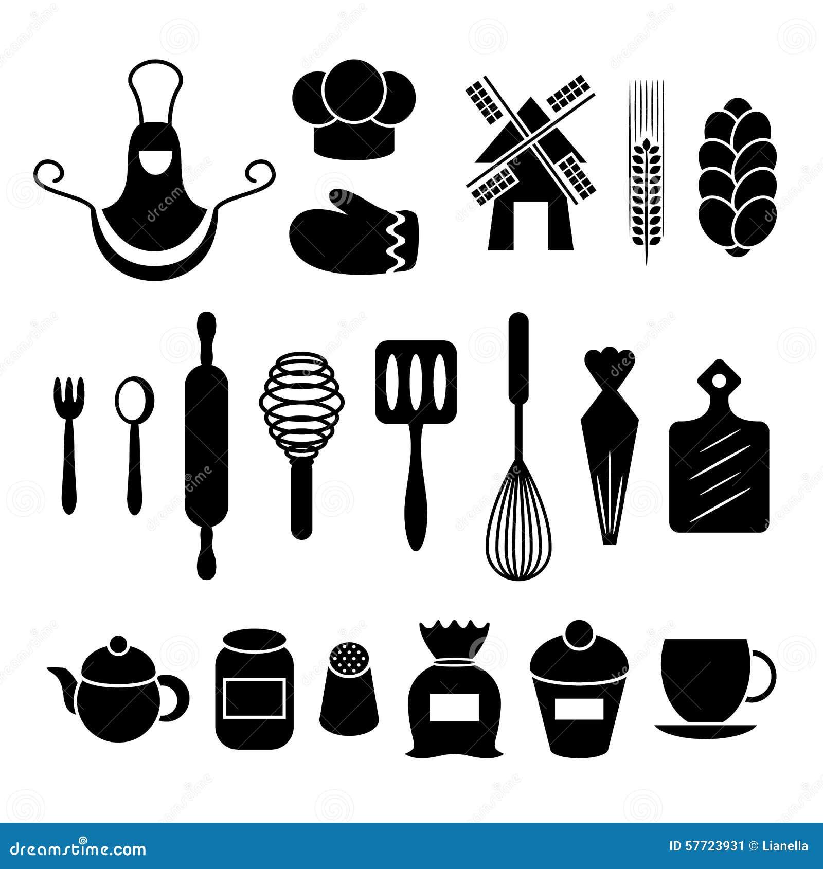 White tudor apron -  Stock Illustration Baking Kitchen Tools Silhouettes Set Apron Gauntlet Spoon Flour Rolling Whisk Pot Teakettle Vector