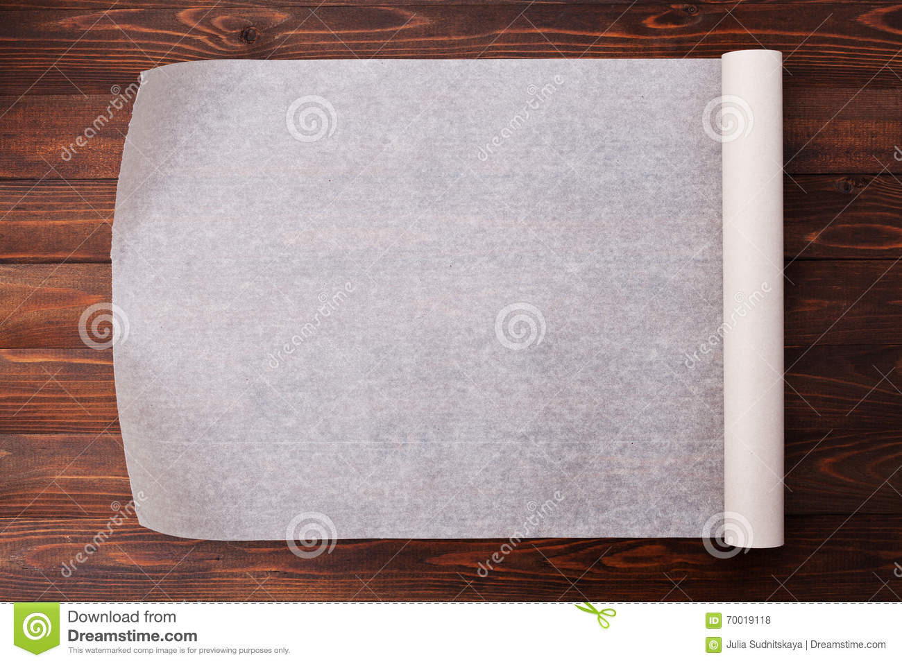 The Kitchen Table Menu Baking Paper On Wooden Kitchen Table For Menu Or Recipes Stock