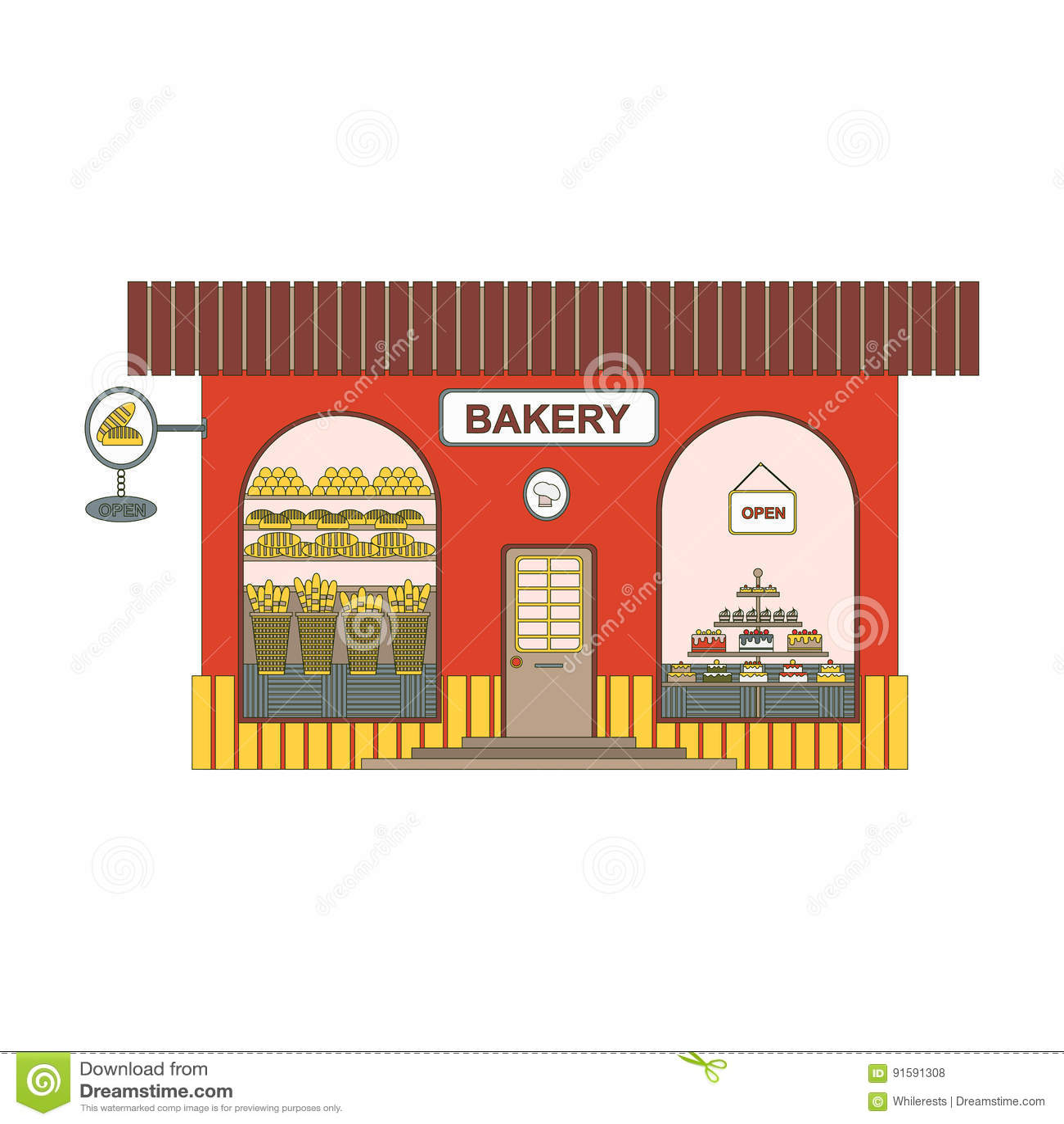Baking Shop Cartoon Icon In Flat Style Bakery Showcase On