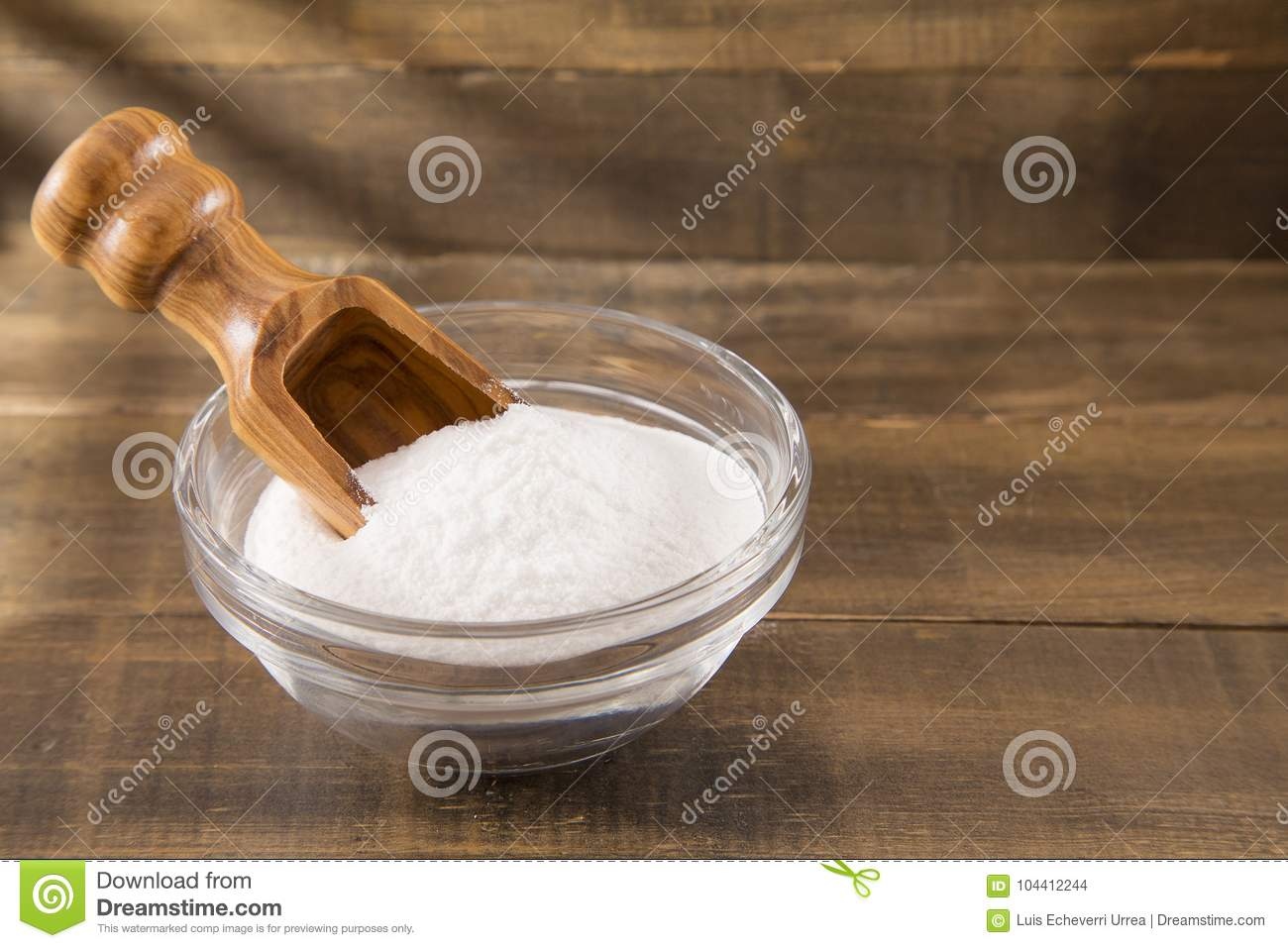 Baking Soda Sodium Bicarbonate On A Wooden Spoon Stock Photo