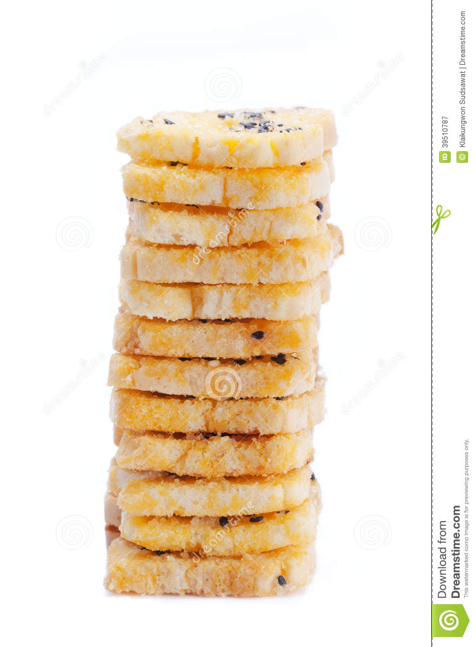 Baking toast with sugar and sesame stack on white background