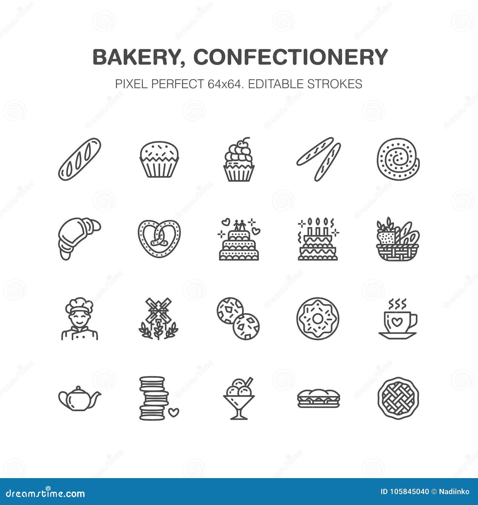 Bakkerij, pictogrammen van de banketbakkerij de vlakke lijn Zoete winkelproducten